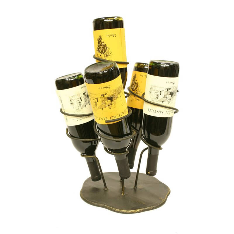 The wine holder is usually a tabletop element meant for direct sharing of wine while having dinner with family or a gathering of friends. Perfect for tastings, they set the bottle in an artful, easy to access placement.