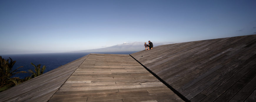On top of the roof, we see the expansive vistas afforded by the raised elevation and gentle slope of the structure.