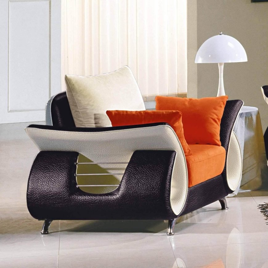 This chair is an example of the more extreme end of contemporary design, with a flared body and high contrast coloring. Thick cushions sit atop a curvy, ultra-modern frame for equal amounts of comfort and style.