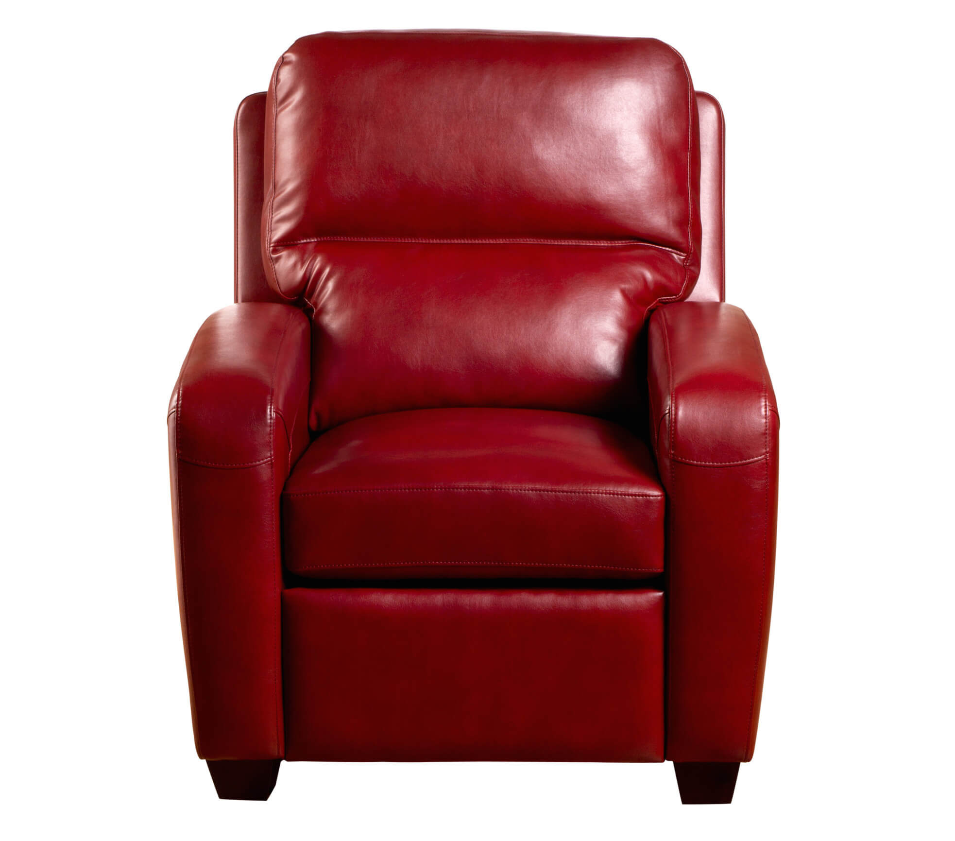Our first recliner stands in the classic club chair shape when fully upright. Red leather makes a bold appearance, while thick cushioning provides high end comfort.