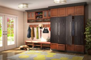 Traditional mudroom with plenty of storage closets.