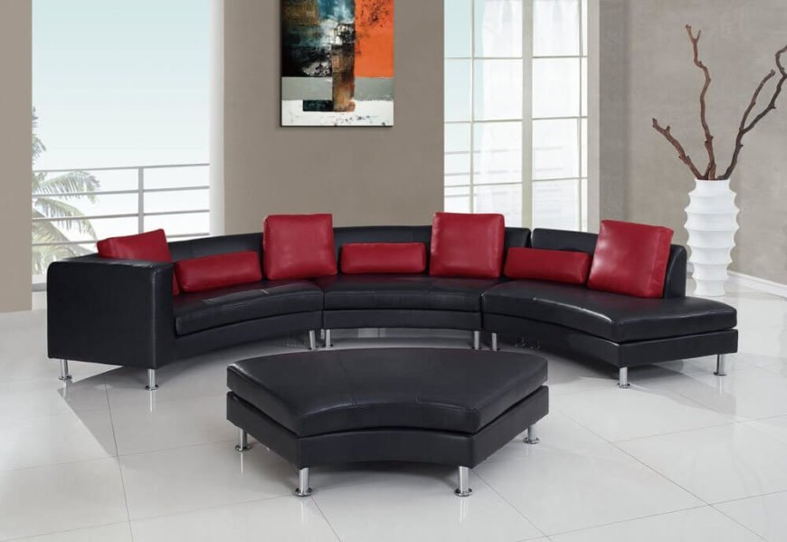 Round Sectional Sofas, Modern Curved Leather Sectional Sofa