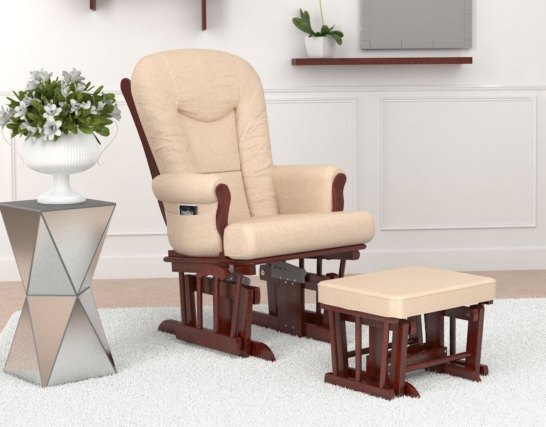 Similar to the prior chair, this glider features a rich wood frame and beige upholstery. The matching ottoman in warm wood tone features gliding motion as well.