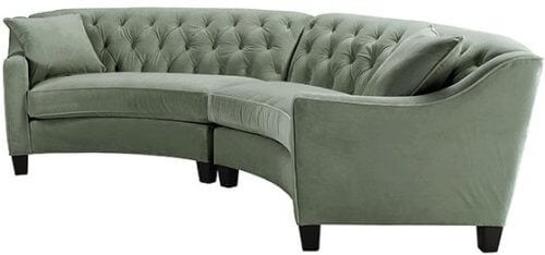 With a more traditional styling covering its curved sectional frame, this piece features button tufted back and gently sloped arms over a hardwood frame.