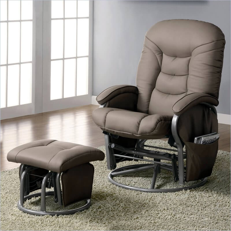 Here's a second glider chair with matching functional ottoman, with a sleek modern aesthetic. Aluminum frame and light brown upholstery make for a gentle contrast.