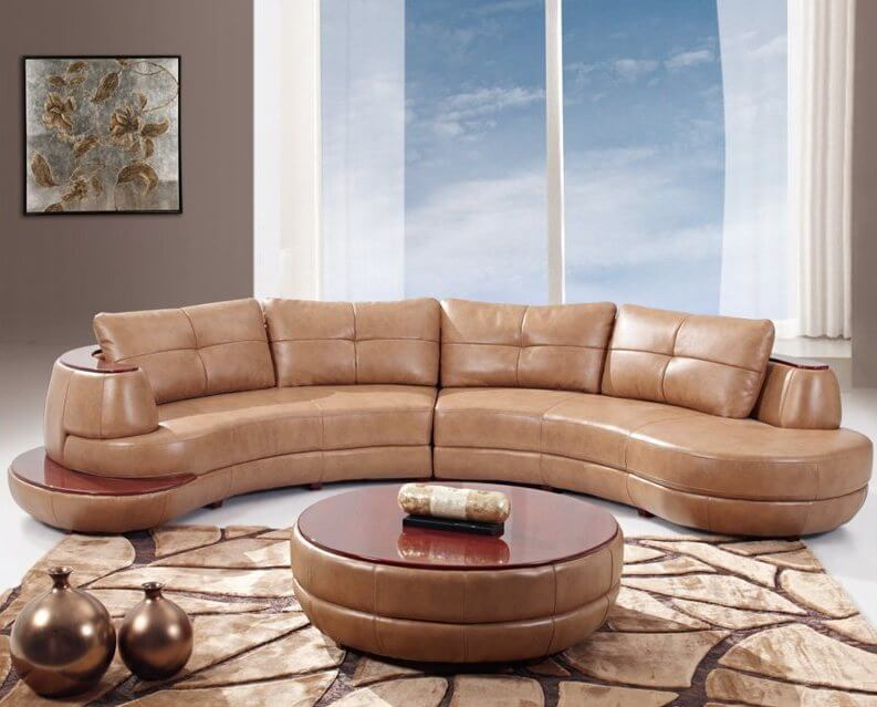 Round Sectional Sofas, Curved Sectional Sofa Leather