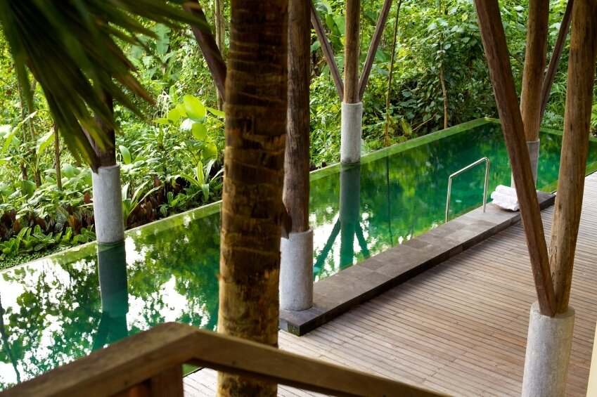 This narrow pool has concrete and wood supports holding up the roof. The jungle greenery reflects in the still water of the pool.