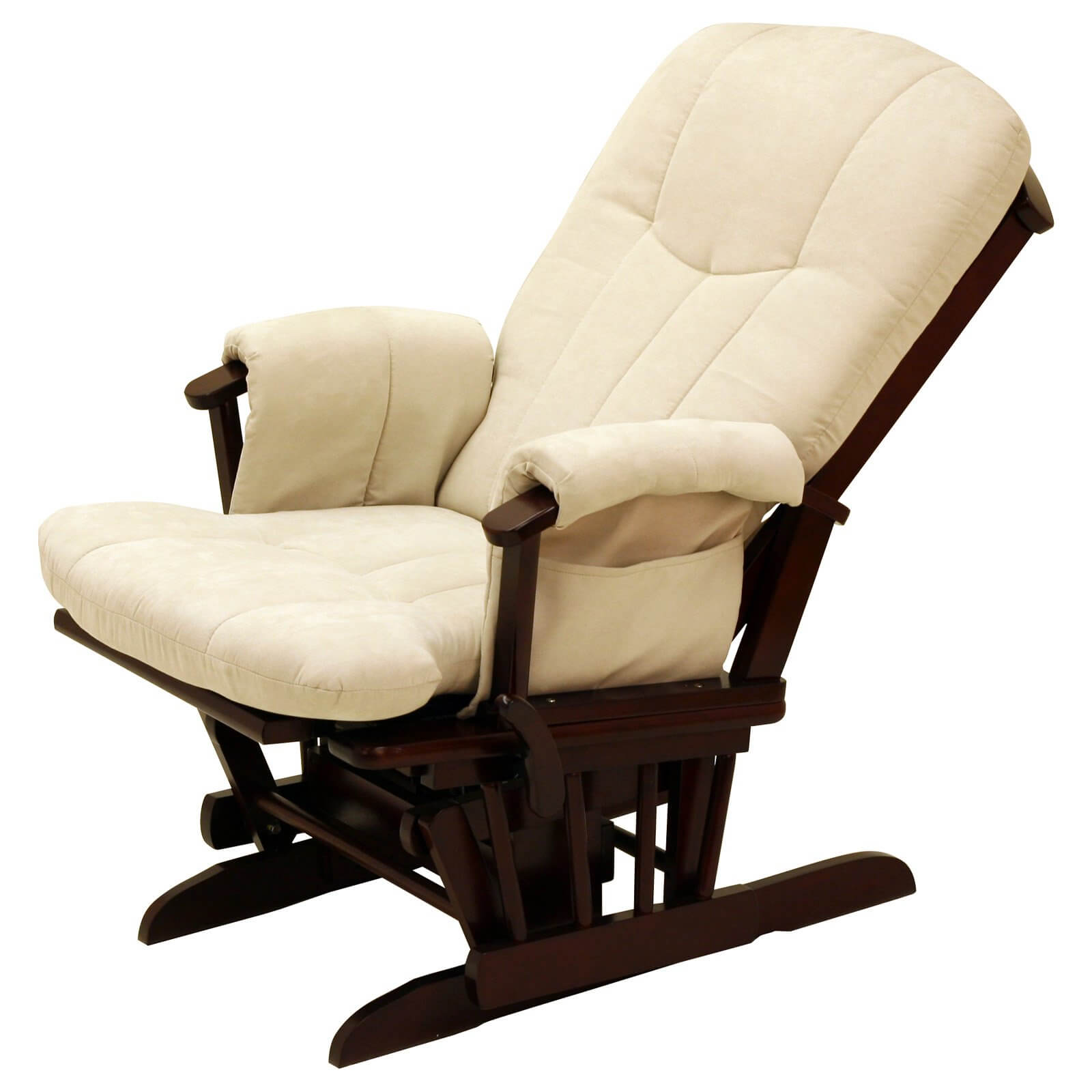 This highly reclined glider features plush beige cushioning over a cherry wood frame. The sloped back provides a more relaxed seating position.
