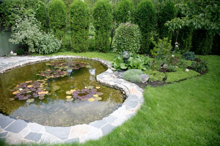 A large backyard pond edged in flagstone that connects to the patio. A curving landscape connects to the dip in the pond.