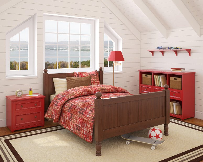 The red plaid bedding and beadboard walls are mixed with bold primary red furniture and a stained dark brown bed frame.