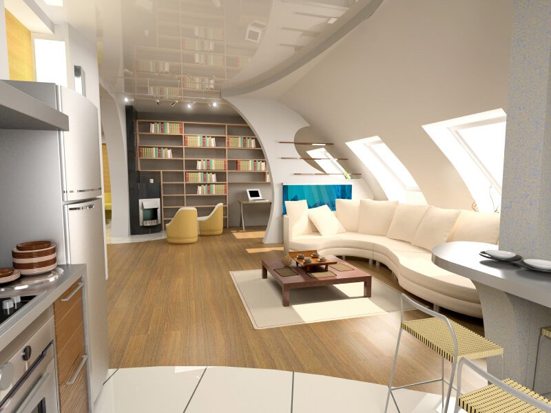 This is a computer rendering of a nicely designed open concept attic apartment, much of which is comprised of a living room with adjacent office.