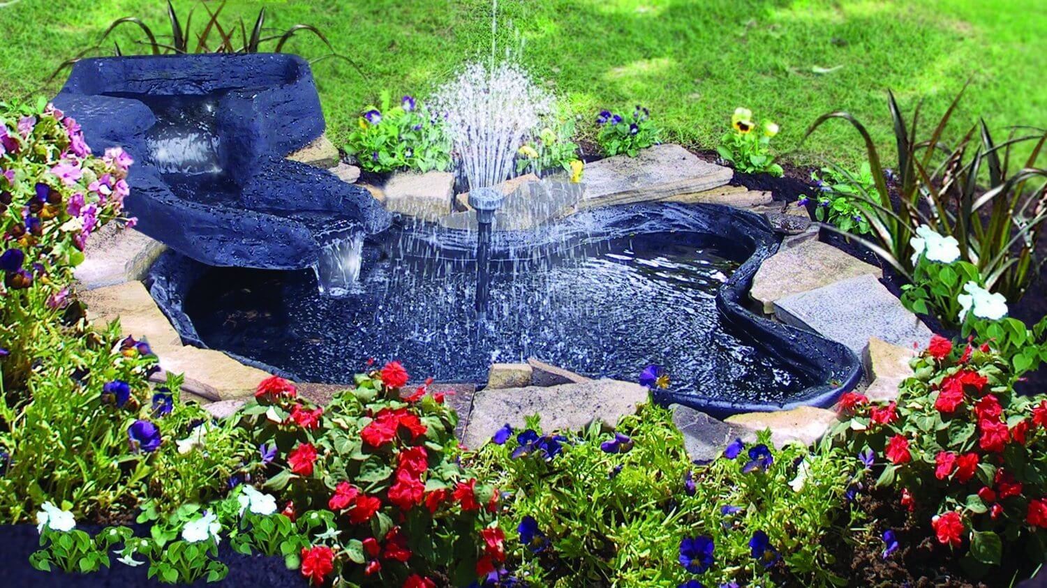 A simple bright blue garden pond with a tall center fountain. Small enough to fit nicely in a small section of a larger garden, and as a feature piece in smaller gardens.