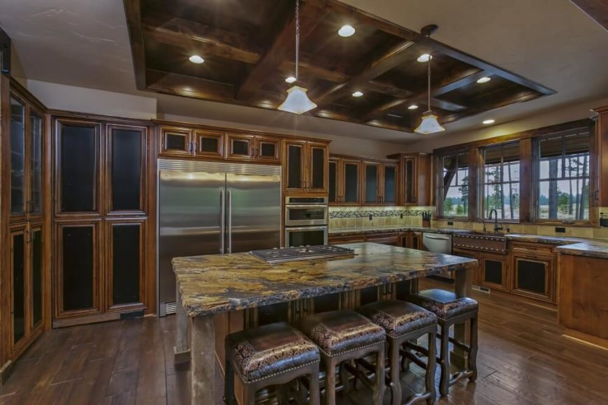Spacious kitchen in rustic craftsman style home