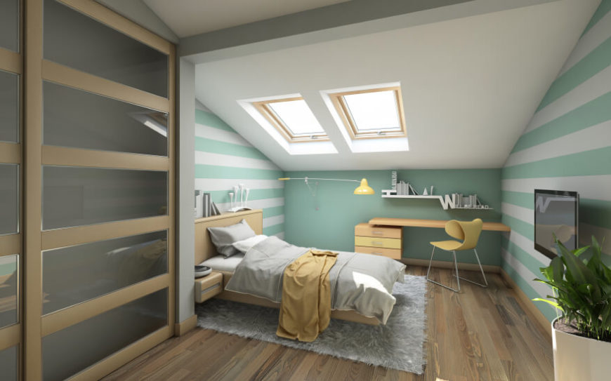 This bedroom features ample sunlight, a soft shag rug, and a pastel color palette of yellow and mint.