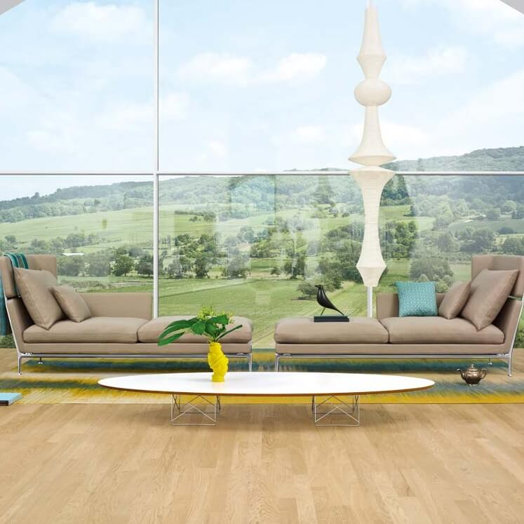 A two piece sectional with options of a sofa that seats three and a chaise lounge. The pieces can be placed together to form an L-shaped ottoman or kept separate to produce standalone seating.