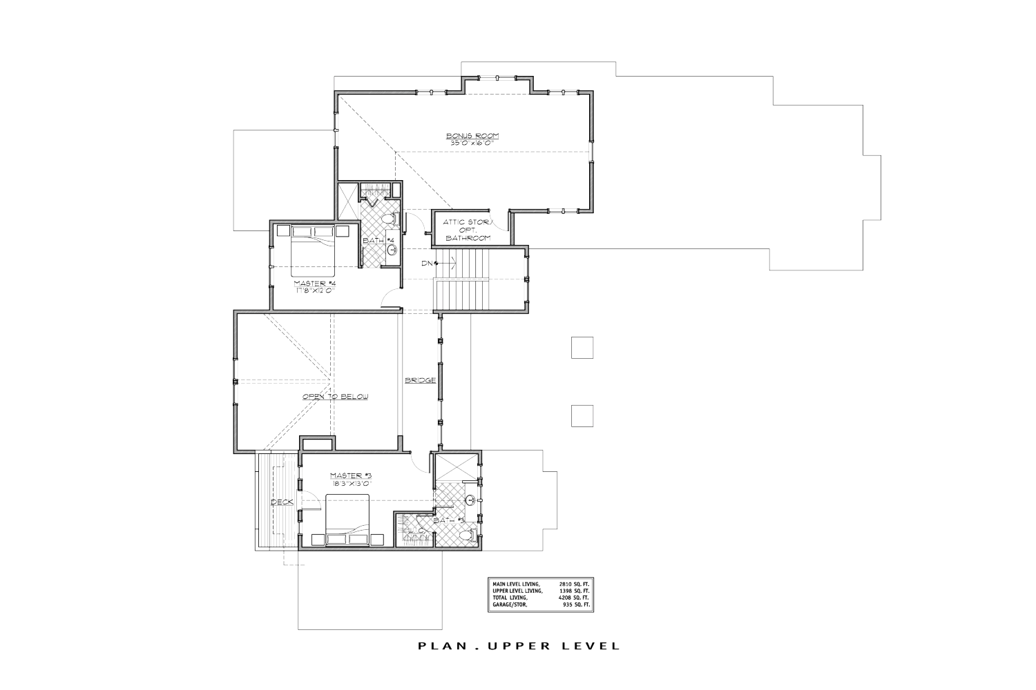 The floor plan for the upper level, showing the bonus room and the storage above the garage.