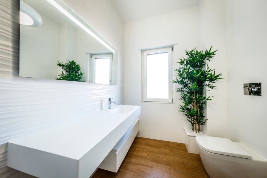 The floating, monolithic vanity stands below a 'sandblown' look wall with frameless mirror above. Bamboo adds a shot of color and life to the white space.
