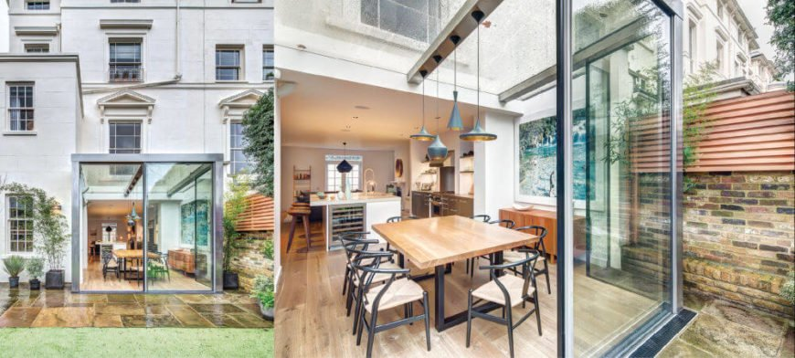 The rear exterior and dining room of this fantastic home in London.