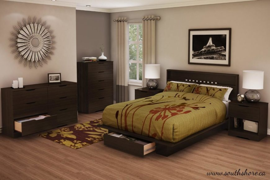A modern bed frame with a dark chocolate finish and smooth, clean lines. The frame has a single long drawer beneath the foot of the platform and several shelves in the headboard.