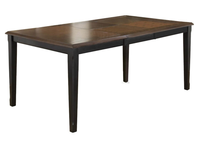 Here's a sleekly minimalist table with a rich natural wood surface and black structure. The butterfly leaf design allows for easy storage beneath the table itself.