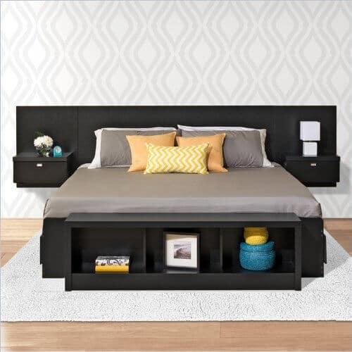 A storage bed with three drawers on each side of the bed. The floating headboard includes nightstand space with additional storage. The bench pictured below is not included.