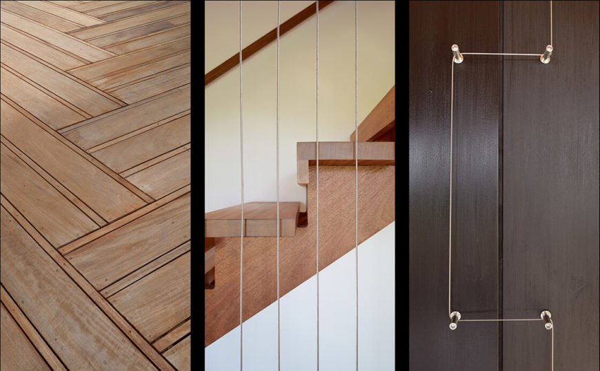 Sprouting amongst the acres of beautiful wood tones are a series of delicately placed steel details. The flooring, stairs, and walls all share complementary tones.