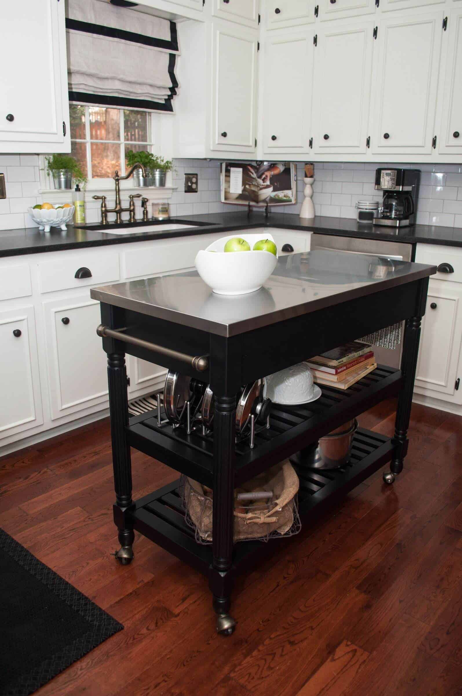 Small Kitchen Island Cart On Wheels With Stainless Steel Top.