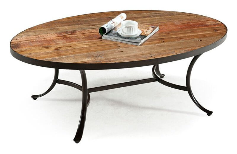 This table design mixes rustic-look wood surface with dark metal framing, for a light and airy appearance with gravity. The sleek shape contrasts with the aged wood.