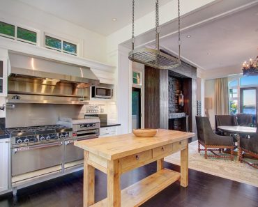 Example of small kitchen island being a butcher block.