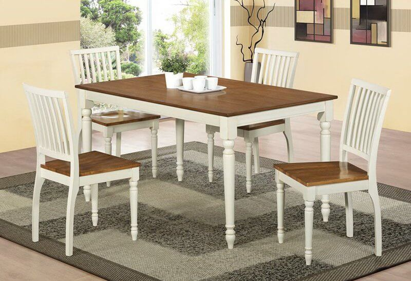 Here we have another high-contrast dining room table. This model features white painted body with arrow foot legs beneath a rich natural wood stained surface.