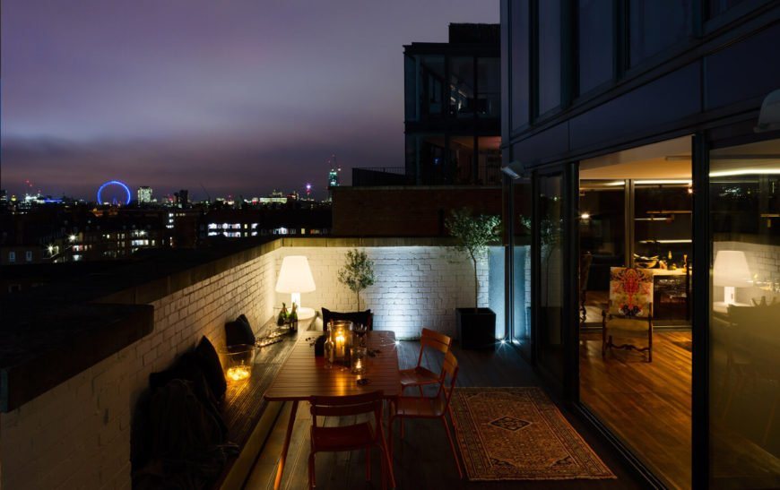 The terrace at night with a fantastic view of the London Eye.