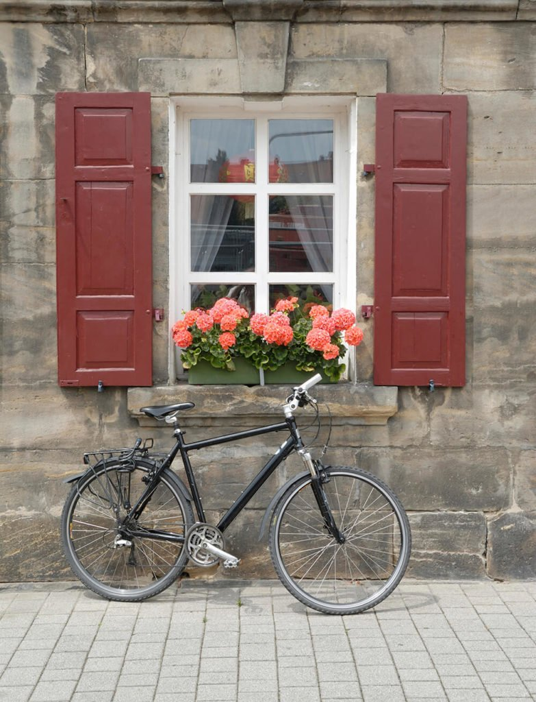 A small window looking out onto a stone sidewalk has a small green wooden window box between two red shutters. A bicycle rests against the stone sill