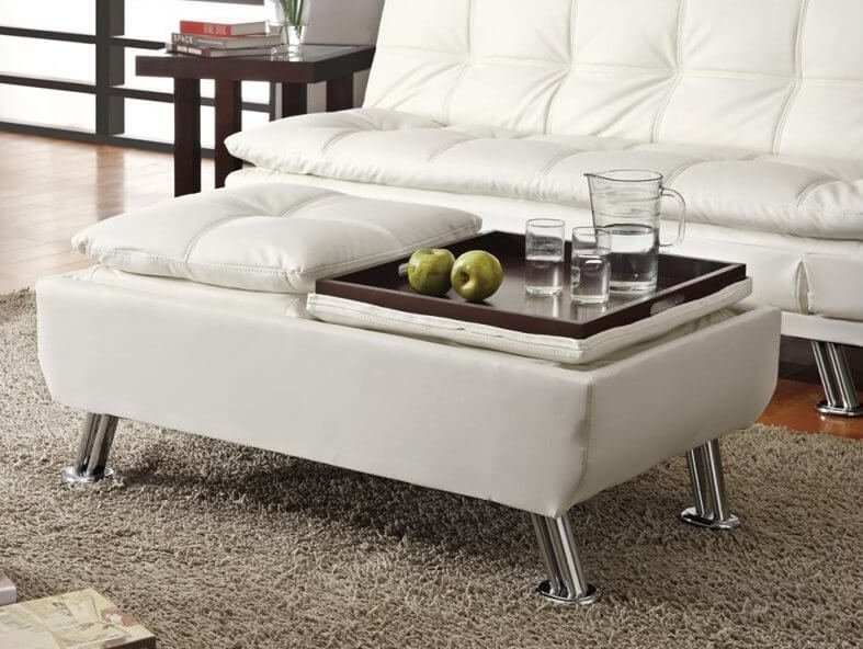 A storage ottoman with reversible pillow-top trays. The soft tops disguise the storage space within. Sturdy chrome legs keep this ottoman at just the right height.