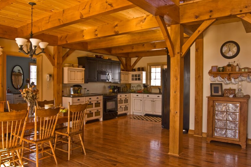 This entire kitchen is made of a lovely auburn wood. The dazzling amount of woodwork in this space is very traditional and grand.