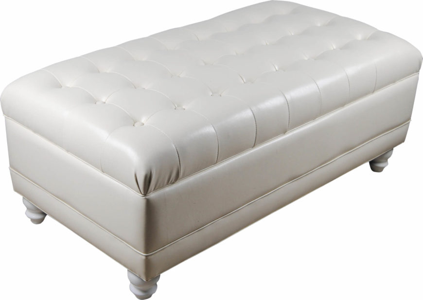 A traditionally styled white tufted leather ottoman with storage inside. The faux leather upholstered piece rests on squat wood legs.
