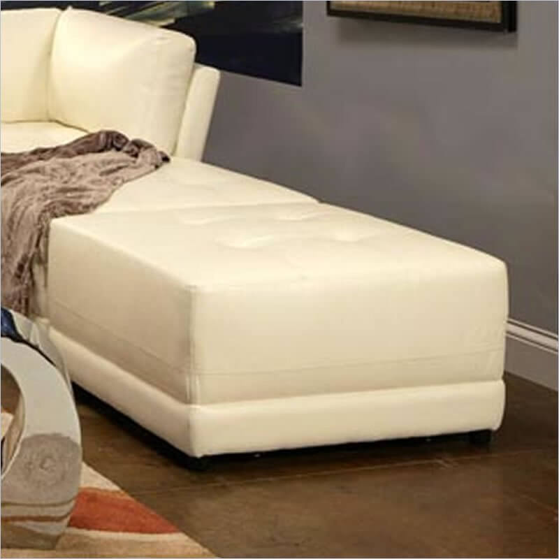A large ottoman as deep as the matching sofa can be pushed up against the short, armless section of a sectional sofa to create a lengthy chaise.