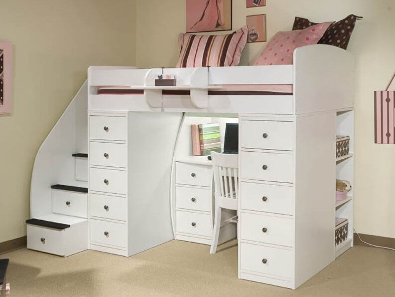 Here's another white wood bed, this time with an extraordinary amount of drawer storage flanking the lower desk space. Extra drawers built into the stairs, plus shelving at right, ensure its utility.