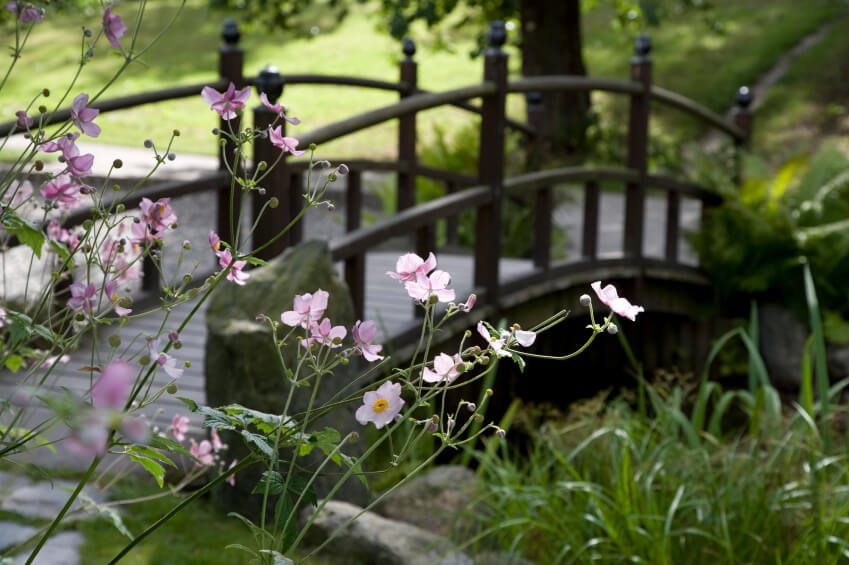 A dark bridge with slim posts and large rocks on either side. The bridge is surrounded by grasses and wildflowers on either end, and spans over a gently moving stream.