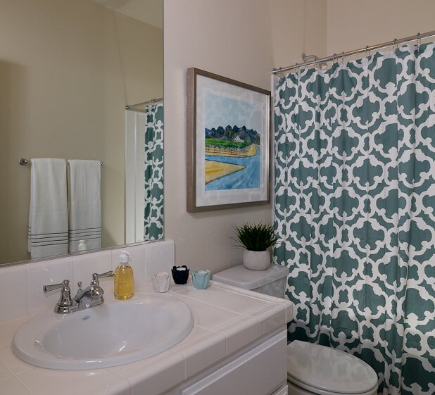 This bathroom rephrases the blue tones of the primary bedroom on the patterned shower curtain, beside a traditional white toned setup.
