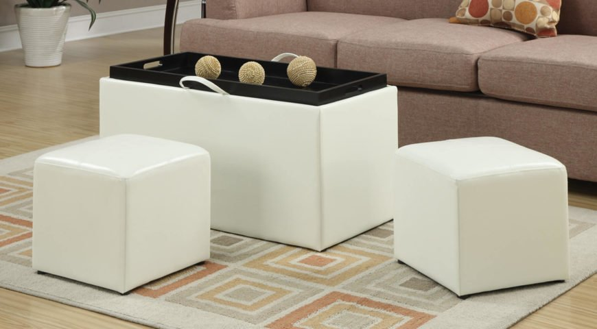 A fantastic 3-piece set. The two smaller ottomans can be easily stored inside the larger ottoman when they need to be out of sight. The largest ottoman has a tray to double as a coffee table.