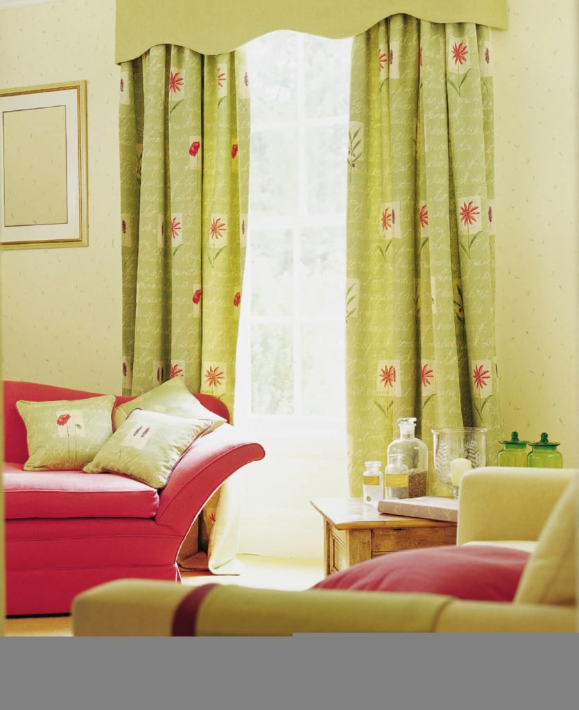 The light, yet bright green goes beautifully with the watermelon pink sofa and throw pillows.