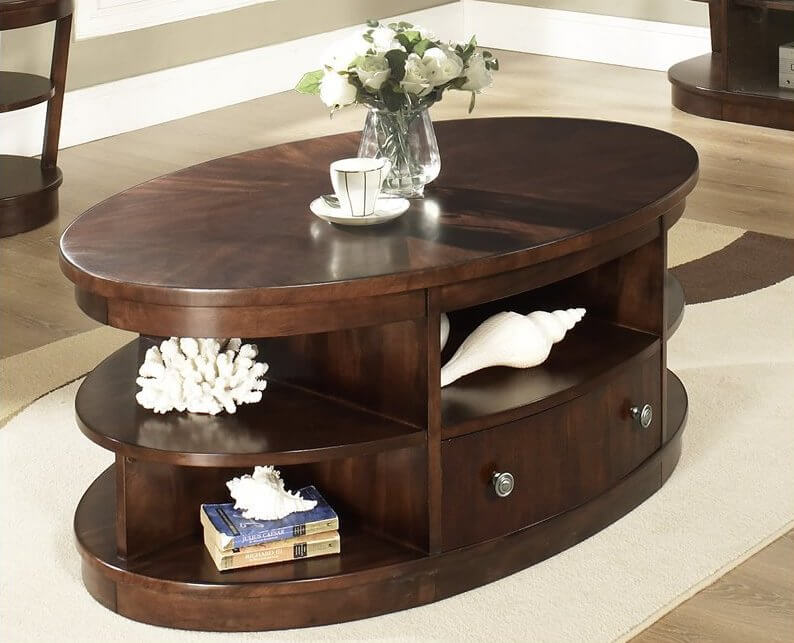 This coffee table features an almost dresser-like design, with full size drawer, shelving, and cubbies abound. The steel hardware and dark stain add an elegant look.
