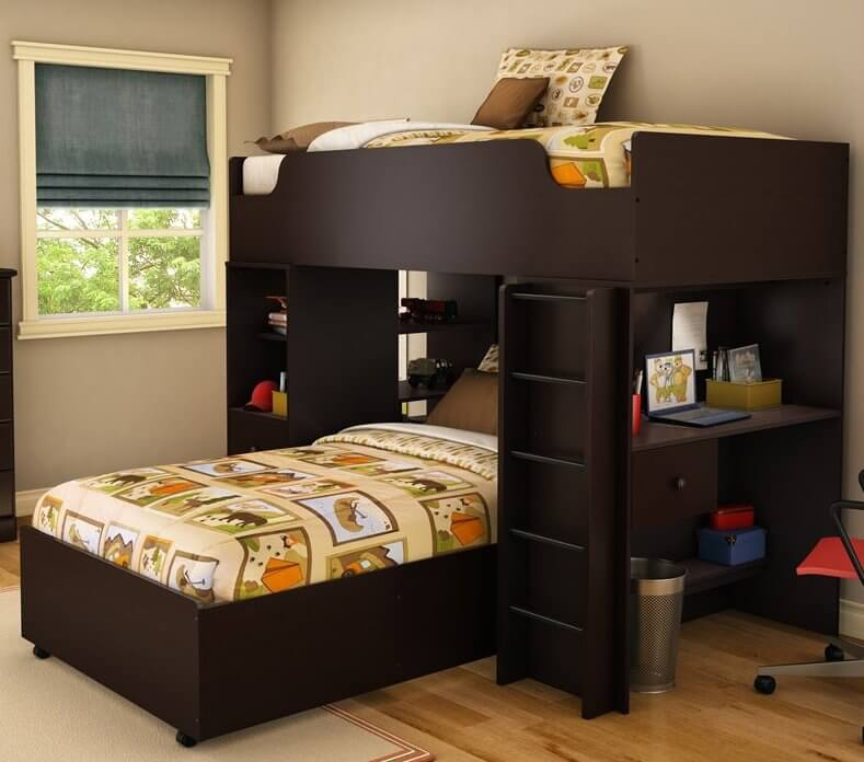 This sleek and modern bed features a perpendicular-aligned lower twin bed beneath rich dark chocolate stained wood framing, with a desk to the right and more storage at left.