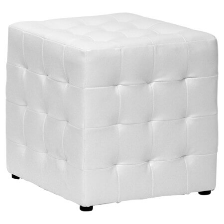A hollow, lightweight cube ottoman in faux leather. The sturdy design is easily cleaned with a dry cloth. This elegant tufted ottoman is available in a set of two.