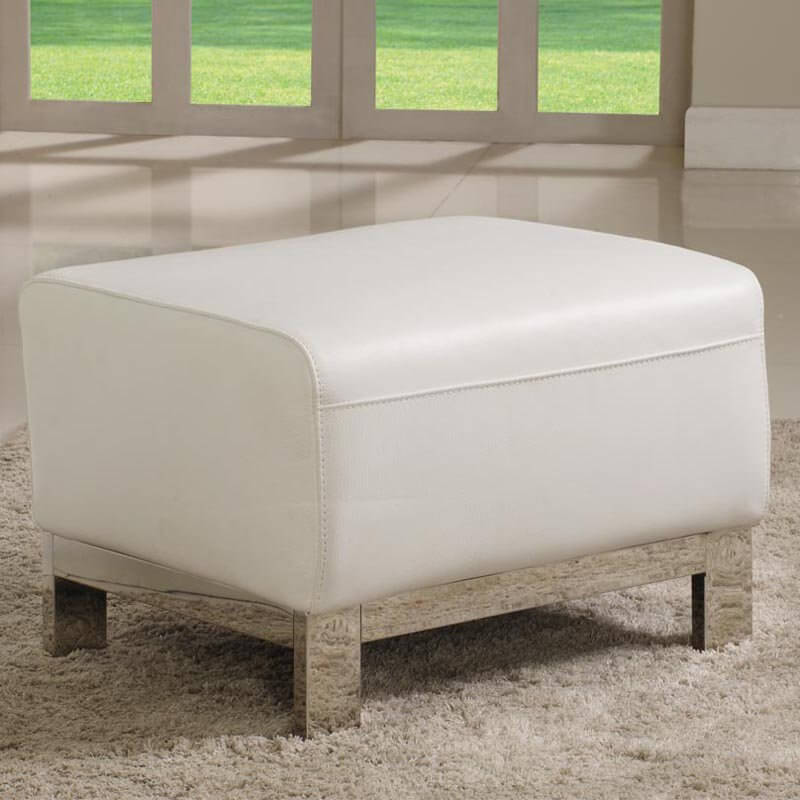 A contemporary steel frame ottoman in a chrome finish. The smooth design is perfect for any modern or minimalist design.