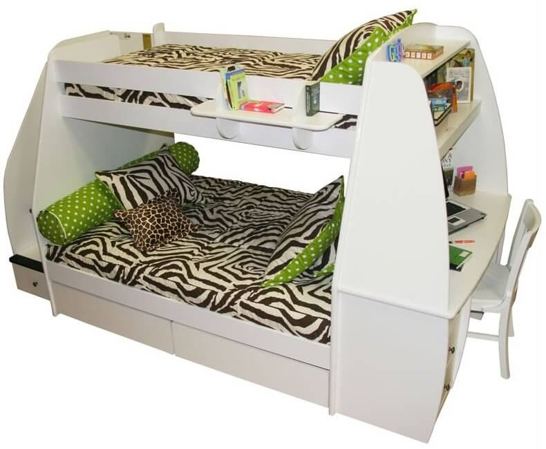 This sleek, curvy white bunk bed features an abundance of storage options, with top-bunk bookshelf and extra shelving above the desk, mounted at right. Extra storage slides out from below the lower bunk.