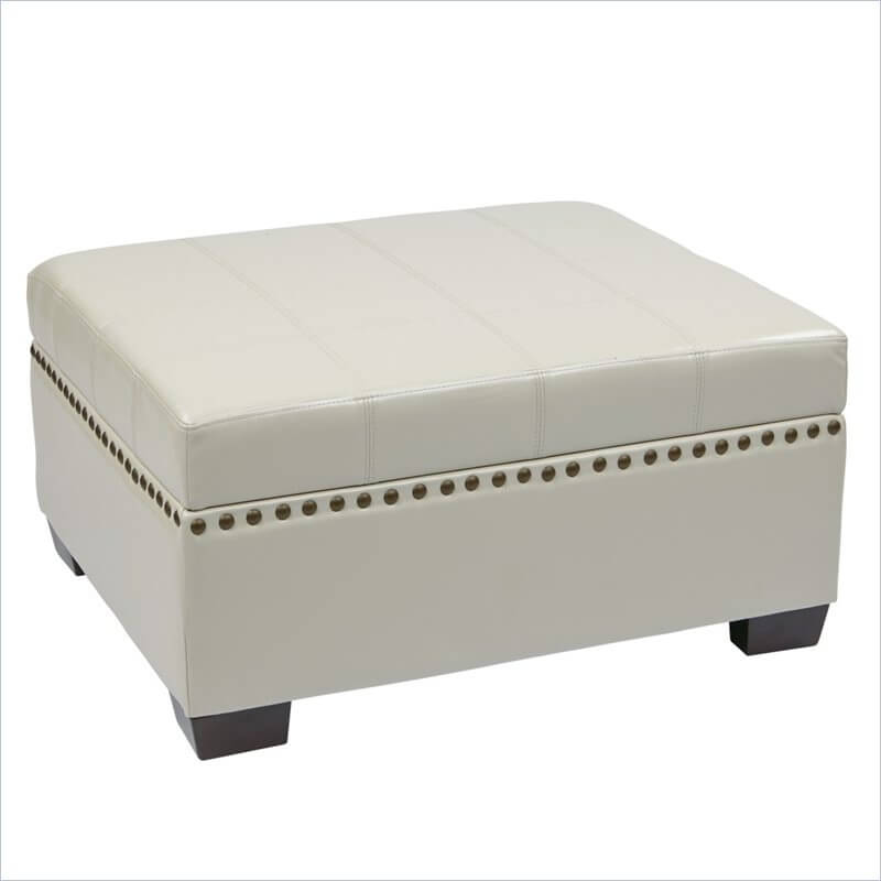 An ottoman in easy clean eco-leather that doubles as a coffee table and a storage bin. This piece boasts sturdy solid wood legs and slam-proof hinges and a trendy nailhead trim.