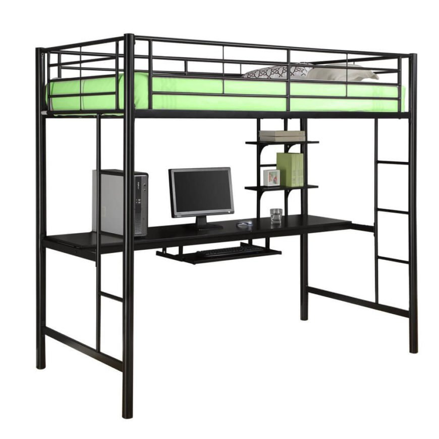 Another metal framed bed, this piece consists of tubular black metal construction, with a generously sized desk, plus extra shelving, seated below the upper bunk.