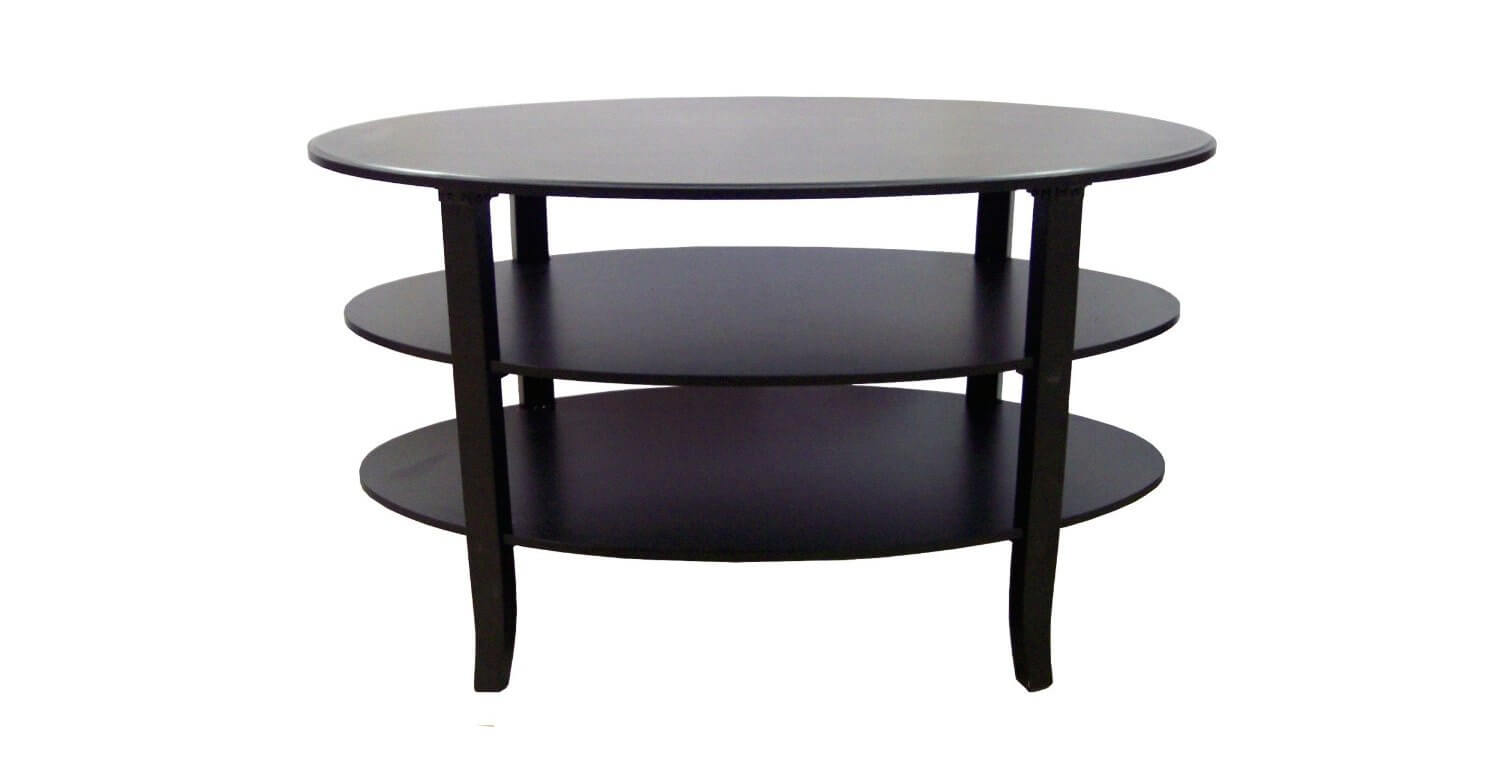 This coffee table features a triple-tier, contemporary design with sleek edges and minimal fuss. The dark stain and clean lines make this a timeless piece.