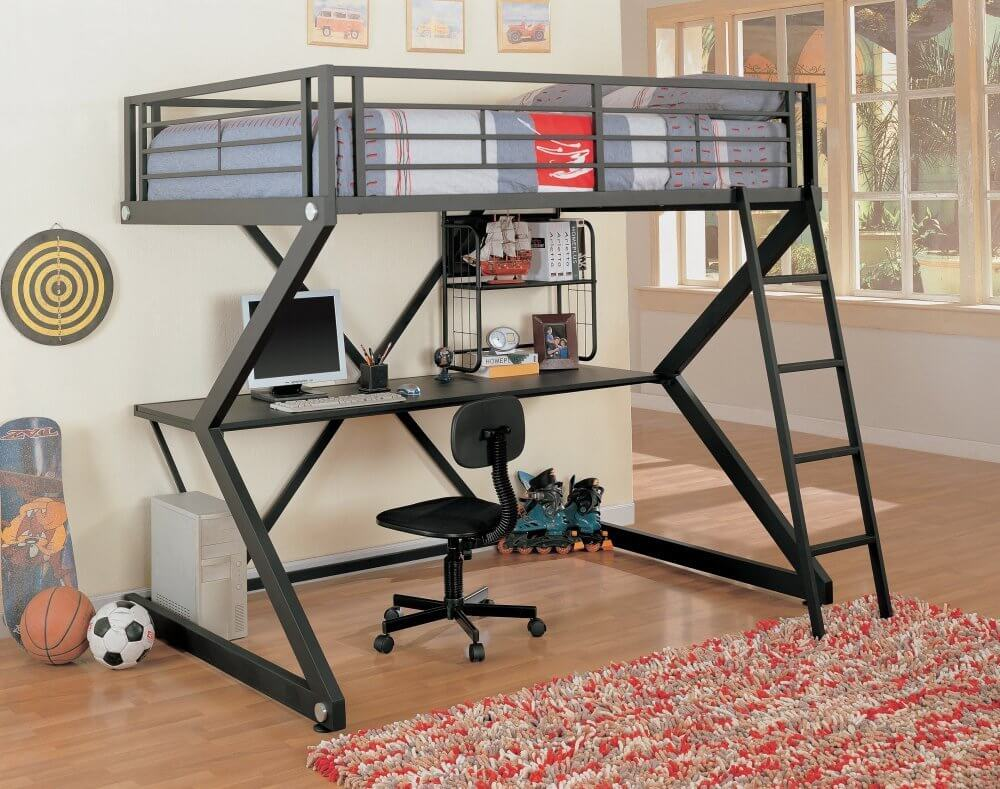 This scissor-frame metal bunk bed sports an ultra-modern look, with gunmetal coloring and angular construction supporting a full size computer desk below the bed.